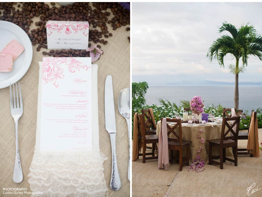 burlap tablecloth with spilling flowers
