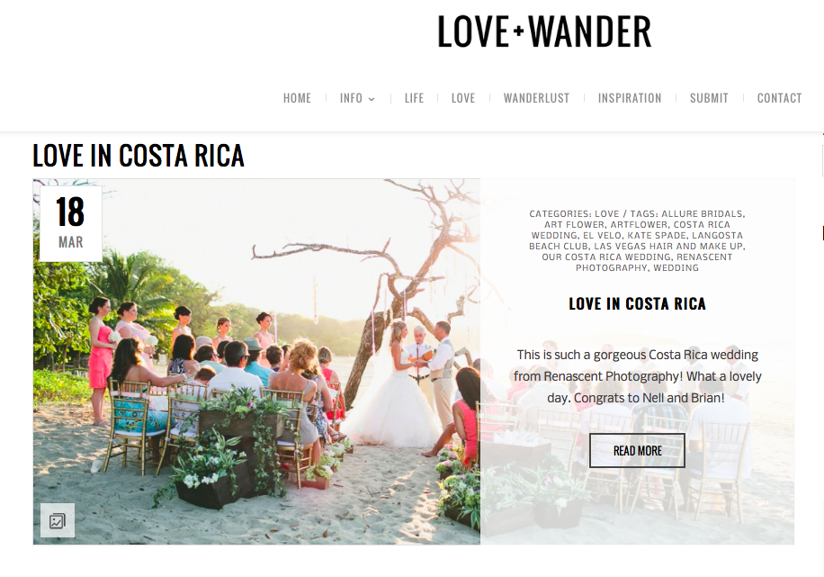 Love + Wander features Our Costa Rica Wedding